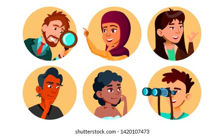 Curious Happy Multicultural Character Set Vector. Collection Of Smiling International Young Curious Man And Woman Portait Avatar With Binoculars And Magnifier. Flat Cartoon Illustration