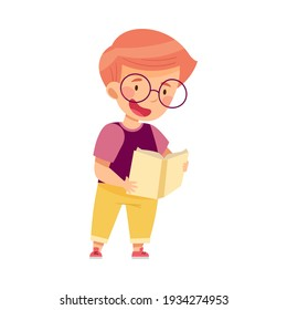 Curious Little Boy in Glasses Studying Space and Galaxy Reading Book about Solar Planets Vector Illustration
