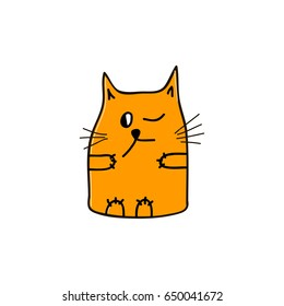 Curious orange cat with one open and one close eye. Vector illustration.