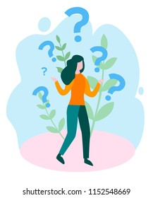 A curious woman. Emotional, economic harm and damage, getting no benefit Concept for web page, banner, presentation, social media. Vector illustration, Why. Business demotivation poster
