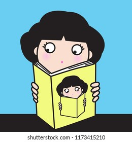 A Curious Young Girl Learning Ownself From Reading A Book. Concept of Finding Yourself Card Character illustration