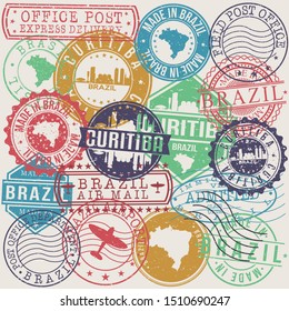 Curitiba Brazil Set of Stamps. Travel Stamp. Made In Product. Design Seals Old Style Insignia.