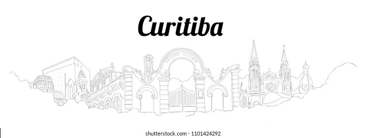 Curitiba city vector panoramic hand drawing sketch illustration