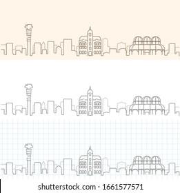 Curitiba Hand Drawn Profile Skyline