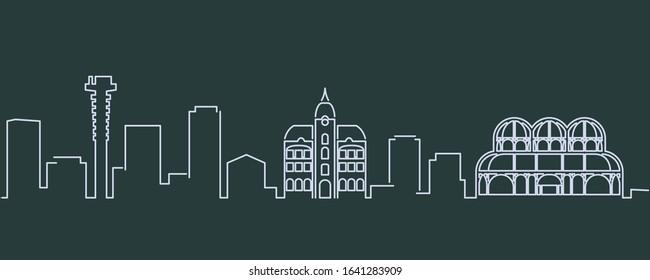 Curitiba Single Line Skyline Profile