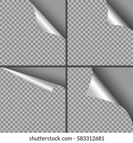 curl page for web design on transparent background