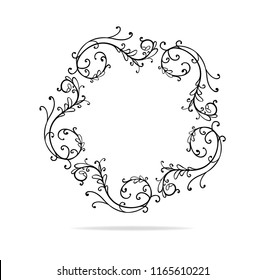 curl and swirl design vector frame element or lace border circle that is hand drawn with floral leaves and flourishes, wedding design or Victorian accent