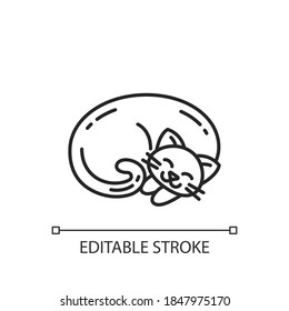 Curled up cat linear icon. Cute domestic sleeping animal. Kitten napping. Hygge lifestyle. Thin line customizable illustration. Contour symbol. Vector isolated outline drawing. Editable stroke