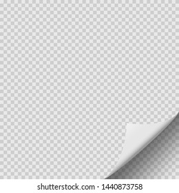 Curled corner of paper with shadow on transparent background.Vector illustration.