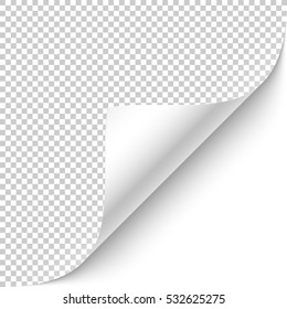 Curled corner with shadow on transparent background realistic vector illustration.