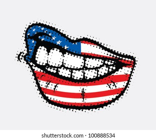 Curled lips with USA flag - vector illustration