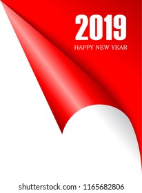 Curled page corner 2019 New Year, vector illustration