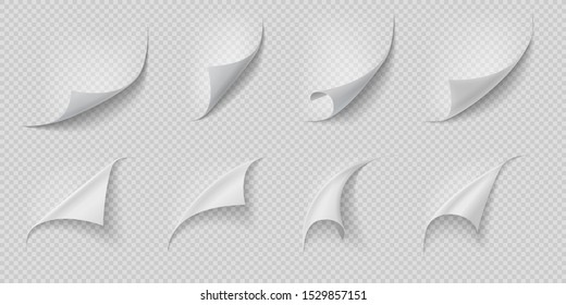 Curled page corner. Folded and rolled paper corner set isolated on transparent background. Vector isolated white curling book page or twisted leaves like peel effect set