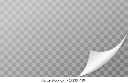 Curled page corner with shadow on transparent background. Bending paper vector mockup. Vector template illustration for your design.