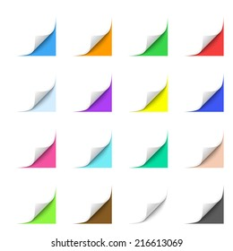 Curled Paper Corners with Multicolor Backgrounds
