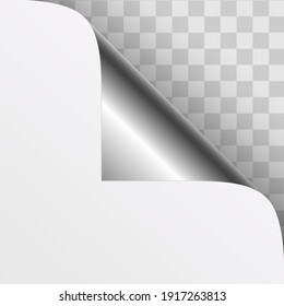 Curled silver metallic corner of white paper with shadow. Vector illustration.