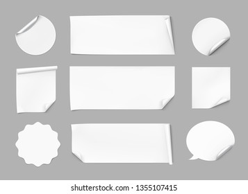 Curled stickers set. Vector illustration on gray background. Can be use for template your design, promo, adv. EPS10.