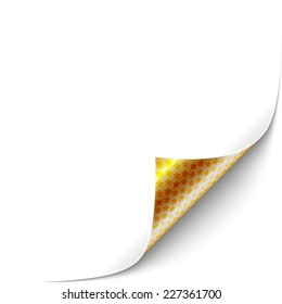 Curled White Paper Corner with Gold Back Side Star Pattern. Vector Illustration