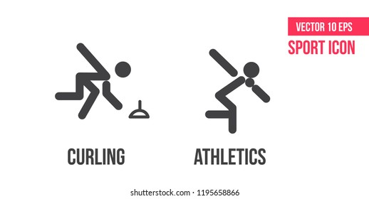 Curling and athletics sign icon. Set of sport vector line icons, logo. Curling and athletics pictogram, flaticon