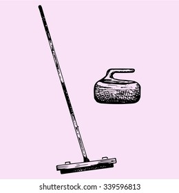 Curling broom and stone, doodle style, sketch illustration, hand drawn, vector
