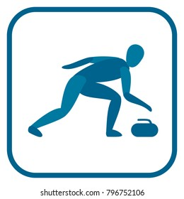 Curling emblem. Two color icon of the player. One of the pictogram from winter sports icons set. Vector illustration EPS-8.