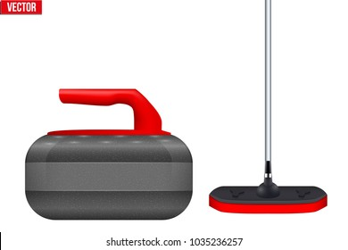 Curling Equipment. Broom and stone for curling. Vector Illustration isolated on white background.