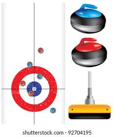 Curling game element set