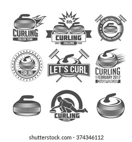 Curling game vintage badges set. Winter sports. Retro logo design. Old school sport logotypes.