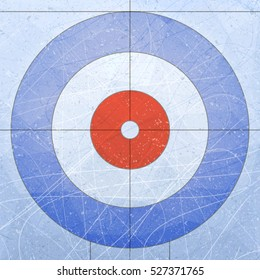 Curling House. Sport. Textures blue ice. Ice rink. Vector illustration background.