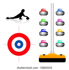 Curling illustration set on white background