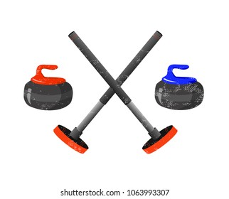 Curling sport equpment: broom and stone on white background. Vector illustration. Winter sport, fitness, activity vector design. Print for logo, flag, T-shirt, banner, competition, event and caps.