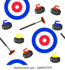 Curling sport seamless pattern with broom, stone and house on white background. Vector illustration. Sport, fitness, activity vector design. Print for logo, T-shirt, banner, competition and caps.
