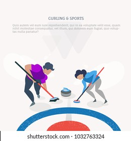 Curling sport winter games. Vector flat design.