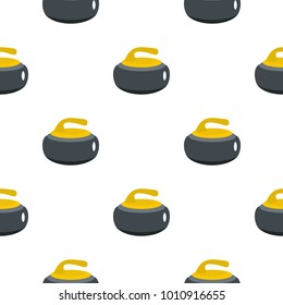 Curling stone with yellow handle pattern seamless flat style for web vector illustration