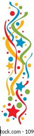 curling streamers and confetti vector design