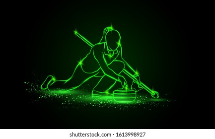 Curling winter sport. Girl holds curling stone. Side view vector green neon Curler athlete illustration.