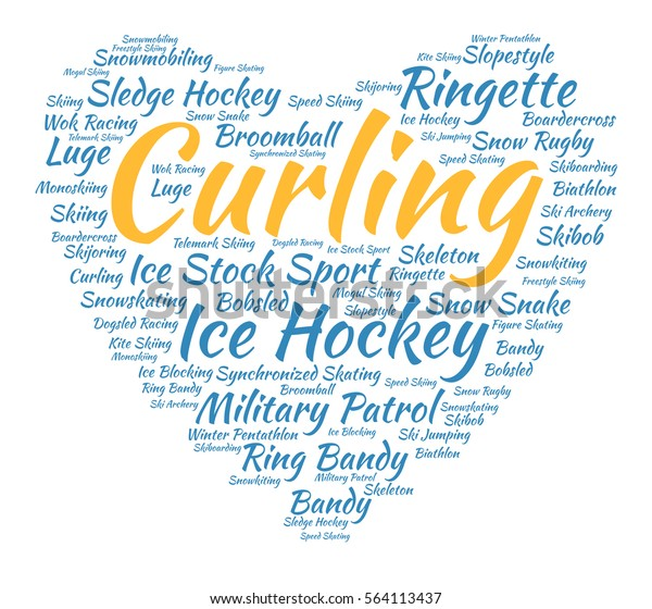 Curling Word Cloud Heart Italic Font Stock Vector (Royalty