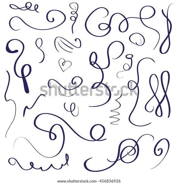 Curls Manual Drawing Zigzag Decoration Greeting Stock Vector