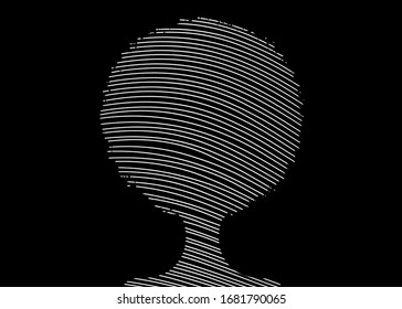 curly afro hair drawing with lines, portrait African Women, dark skin female face with curly hair afro, ethnic traditional coiffure silhouette, hair style concept, vector isolated or black background