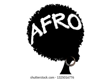 curly afro hair, portrait African Women , dark skin female face with curly hair afro, ethnic traditional earrings, hair style concept, Afro grunge text, vector isolated or white background