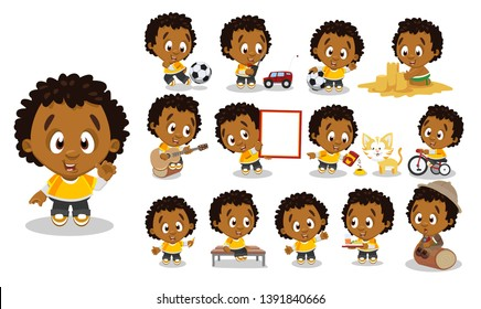 Curly afro-american boy in yellow t-shirt, trousers. Guy in different poses and situations: plays, eats, rides. Full length front and three quater view. Ready to use cartoon set isolated on white.