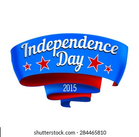 Curly banner, the US Independence Day in red and blue colors with stars. Vector illustration