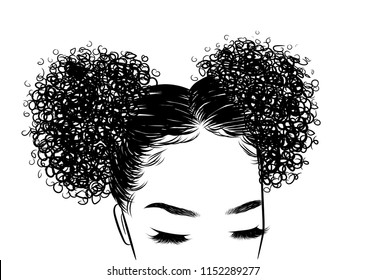 Bun Curly Hair Images Stock Photos Vectors Shutterstock