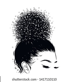 Curly beauty girl illustration isolated on clear background. Hair buns with long hair. Hand draw idea for business cards, templates, web, brochure, posters, postcards, salon