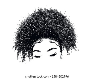 Curly beauty girl illustration isolated on clear background with long hair. Hand draw idea for business cards, templates, web, brochure, posters, postcards, salon