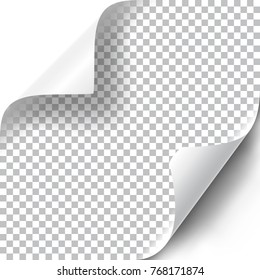 Curly corners set with transparent shadow. Vector illustration.