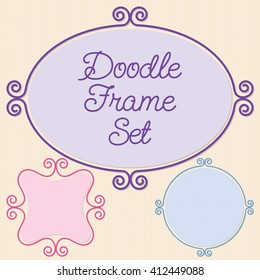Curly doodle frame set in vector format.
