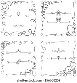 Curly elements,vintage borders, decorative corners, dividers; vector set