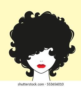 Curly girl. Vector illustration