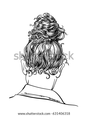 Curly Hair Bun Hairstyle Back View Stock Vector Royalty Free